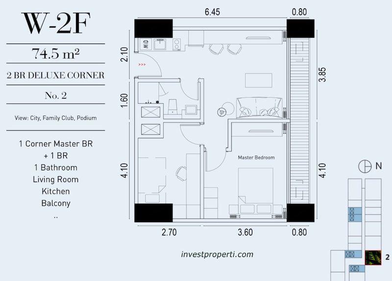 TIpe Unit 2BR Deluxe Corner Embarcadero Suite Apartemen