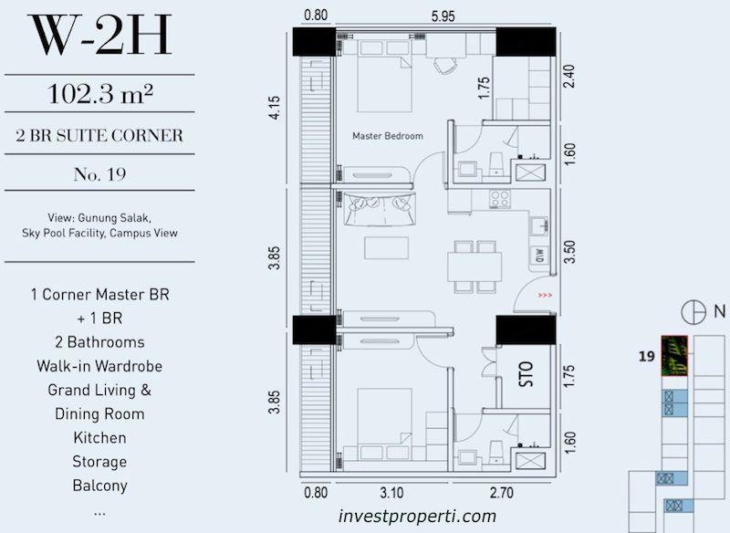 TIpe Unit 2BR Suite Corner Embarcadero Suite Apartemen