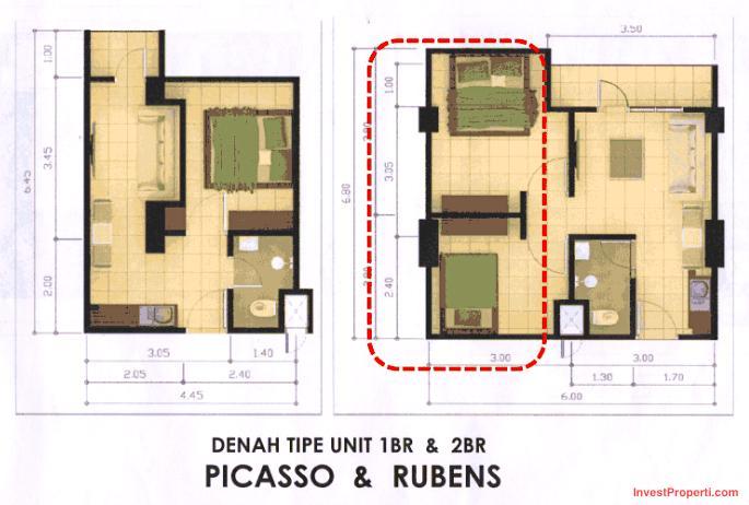 Tipe 1BR 2BR Easton Park Serpong Apartment