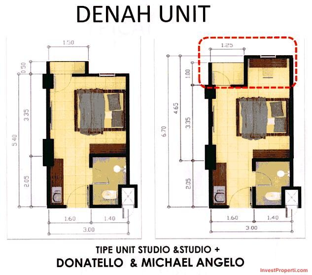 Tipe unit Studio Easton Park Serpong Apartment