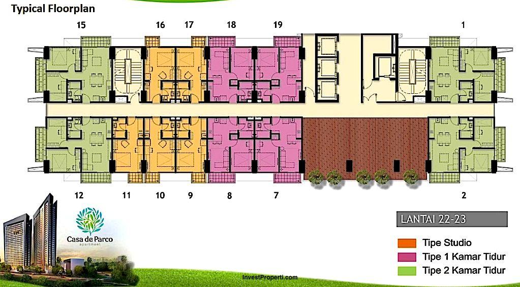 Floorplan Tower Orchidea Apartemen Casa De Parco Lantai 22-23