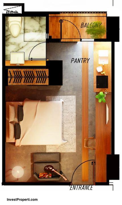 Tipe Unit Studio Room Skyland City Jatinangor Apartment