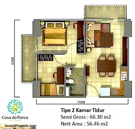 Unit Plan Tipe 2BR Tower Orchidea apartemen Casa de Parco Bsd