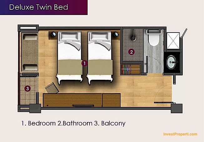 Unit Plan Deluxe Twin Bed Horison Sunset Road