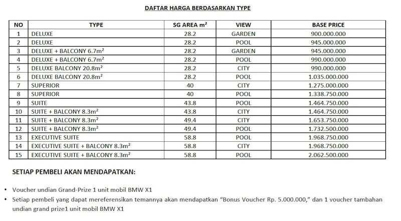 pricelist Mercure Bali Legian Condotel Apr 2012
