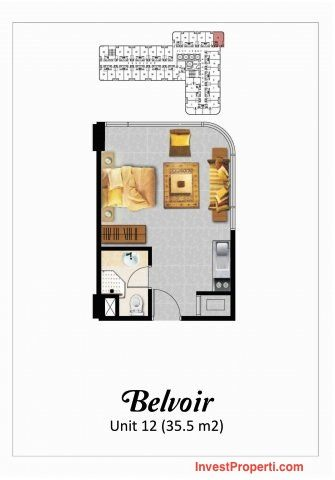Tipe Studio Belvoir Apartemen Grand Eschol Karawaci