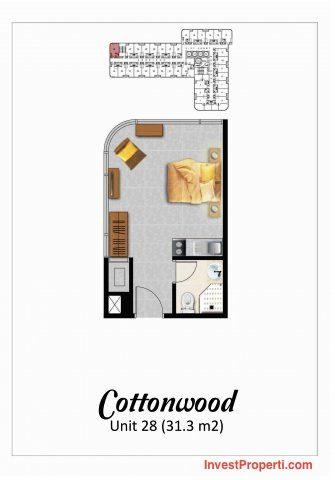 Tipe Studio Cottonwood Apartemen Grand Eschol Karawaci