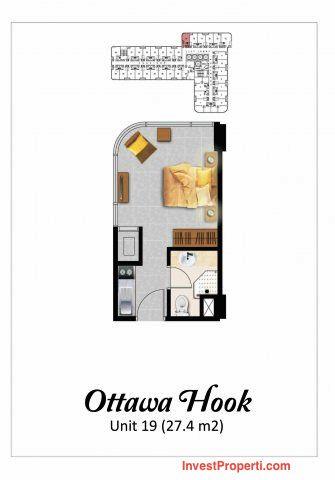 Tipe Studio Ottawa Hook2 Apartemen Grand Eschol Karawaci