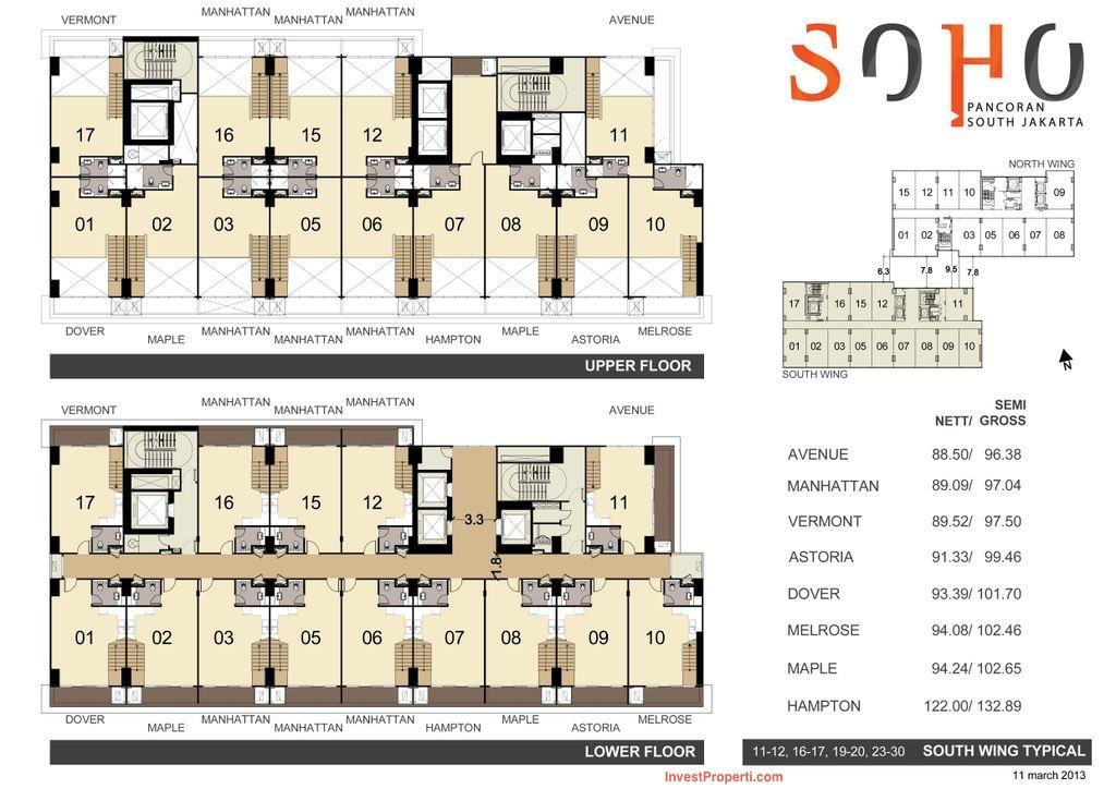 Tipe Unit Soho Pancoran Tower South Wing