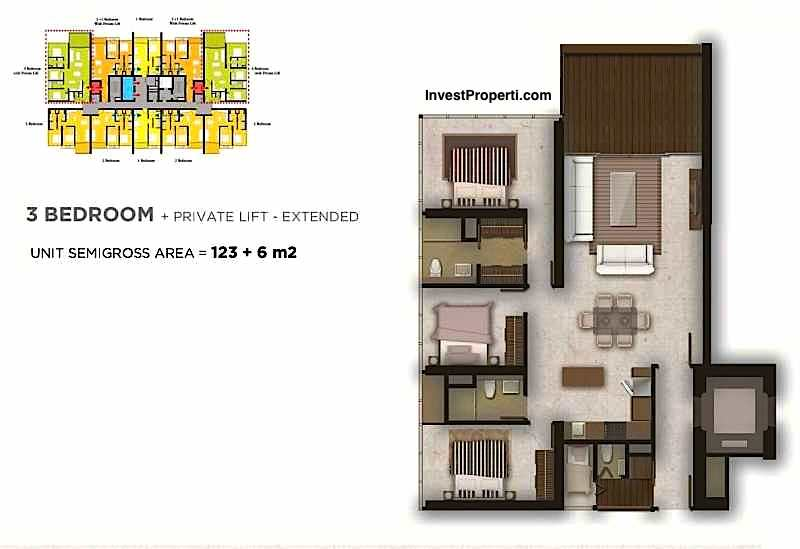 Tipe 3BR + Private Lift Extended