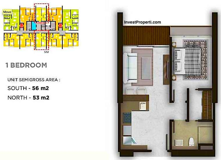 Tipe Unit 1 Bedroom
