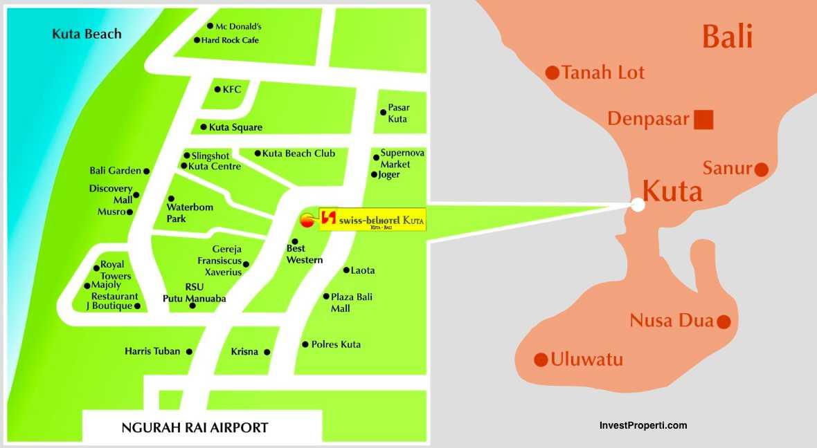 Swiss Belhotel Kuta Condotel Bali Map