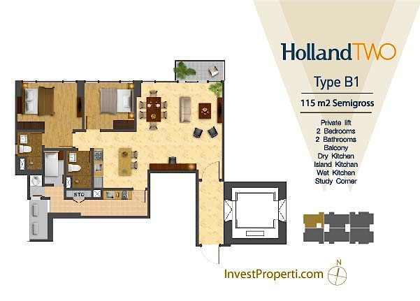 Tipe Unit Holland Two B1 Holland Village Apartemen