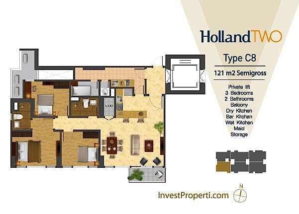 Tipe Unit Holland Two C8 Holland Village Apartemen