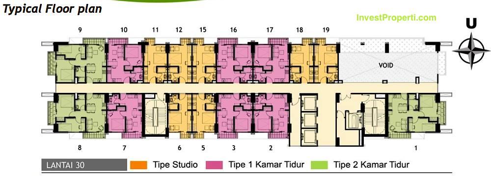 Lantai 30 Floor Plan Tower Magnolia Apartment Casa de Parco