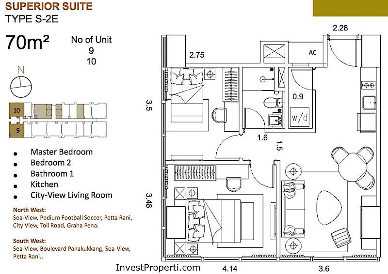 St Moritz Makassar Apartment Superior Suite Tipe S-2E