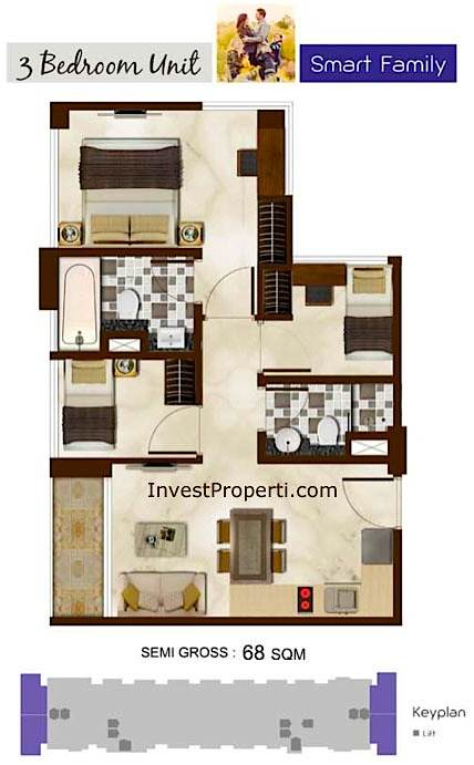 Puri Mansion Apartment Tipe 3 BR