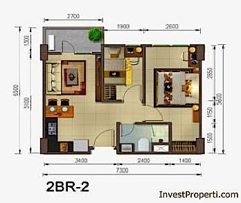Tipe Unit 2 BR Skyline Apartemen Cawang