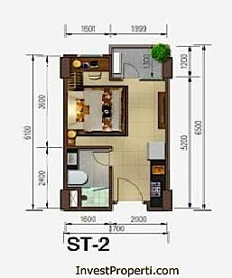 Tipe Unit Studio Skyline Apartemen Cawang