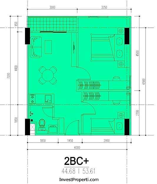 Tipe 2BC Apartemen M-Square Bandung