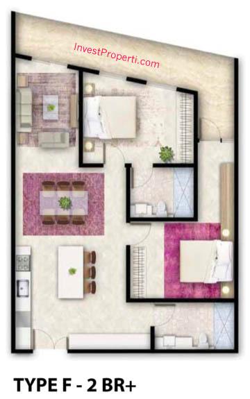 Tipe F Apartemen Foresque Ragunan 2 BR Plus