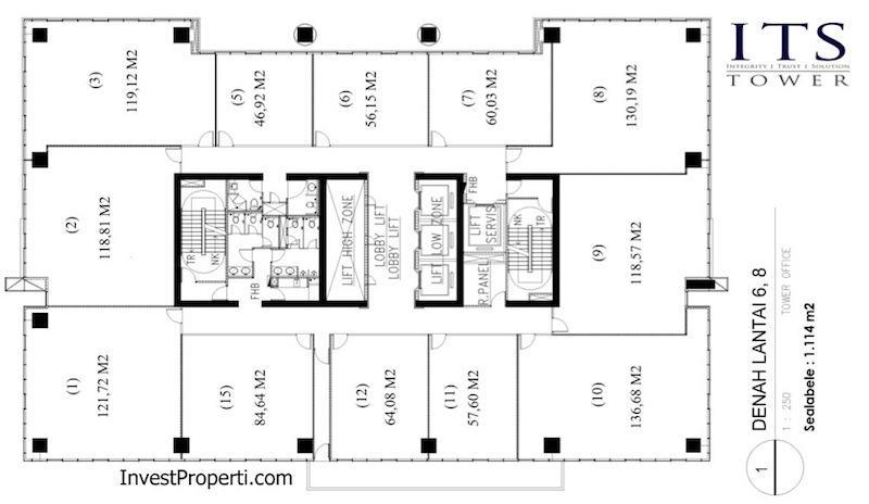 ITS Office Tower Floor Plan Lantai 6 8
