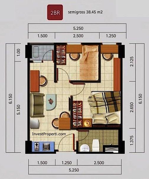 Tipe Unit 2BR Apartemen Kota Ayodhya Tangerang