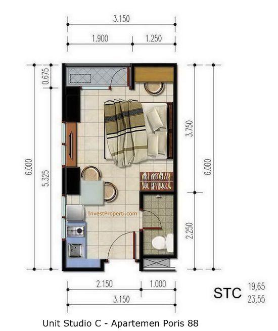 Unit Studio C Apartemen Poris 88