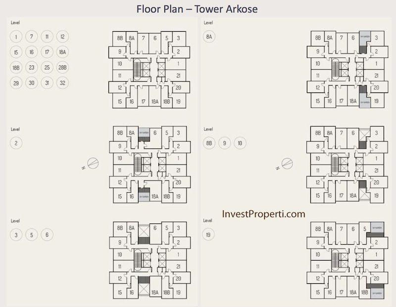 Floor Plan Apartemen K2 Park - Tower Arkose Lt 1-19