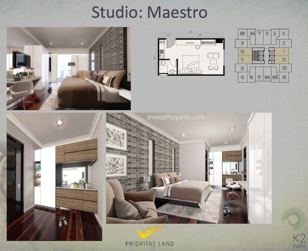 Tipe Studio Maestro Allegra Apartemen K2 Park Gading Serpong