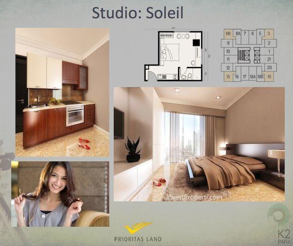Tipe Studio Soleil Apartemen K2 Park Gading Serpong
