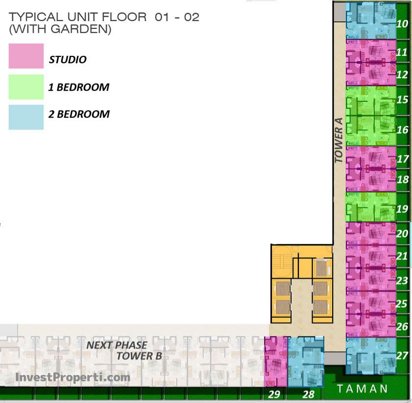 Floor Plan 01-02 Apartemen ParkLand Avenue BSD