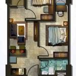 Denah Tipe Unit 2 BR Apartemen Spring Lake Bekasi