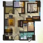Denah Tipe Unit 3 BR Apartemen Spring Lake Bekasi