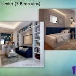 Tipe Elsevier 3BR Indigo Bekasi Apartment - Living Room Bed Rooma