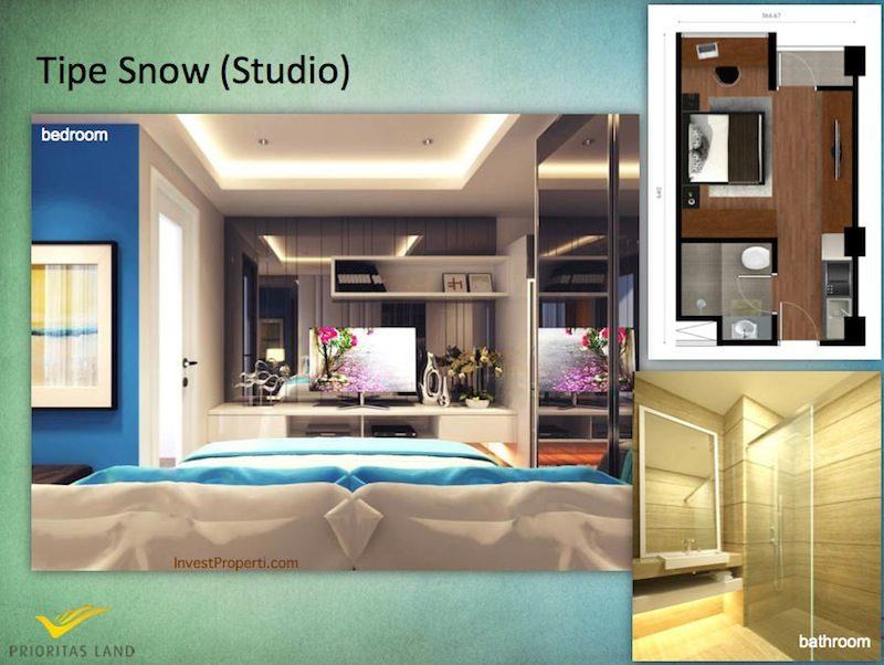 Tipe Snow Studio Indigo Bekasi Apartment - Bedroom