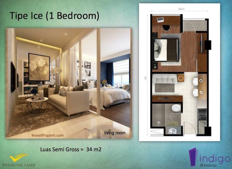 Tipe Snow Studio Indigo Bekasi Apartment - Living Room