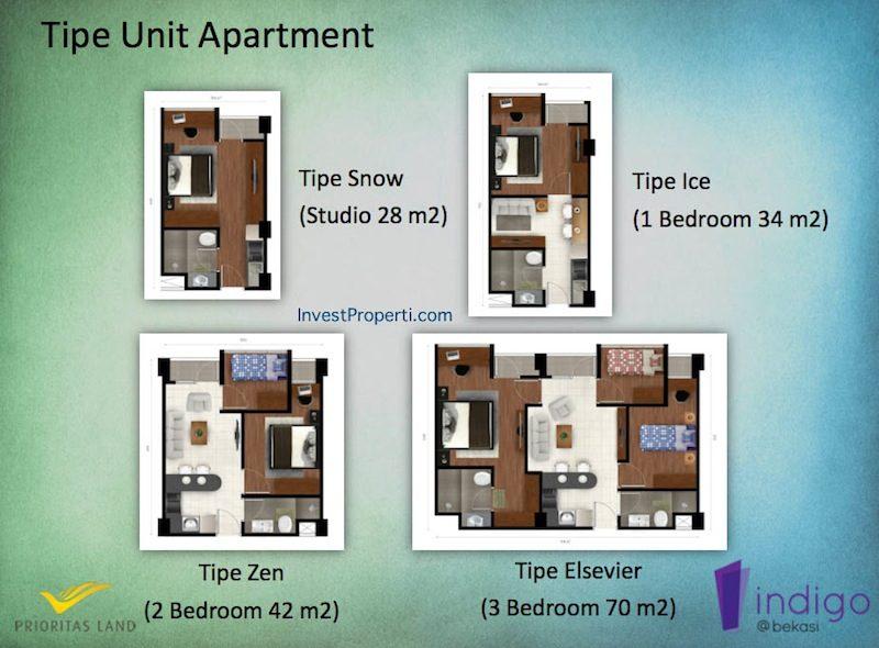 Tipe Unit Apartemen Indigo Bekasi