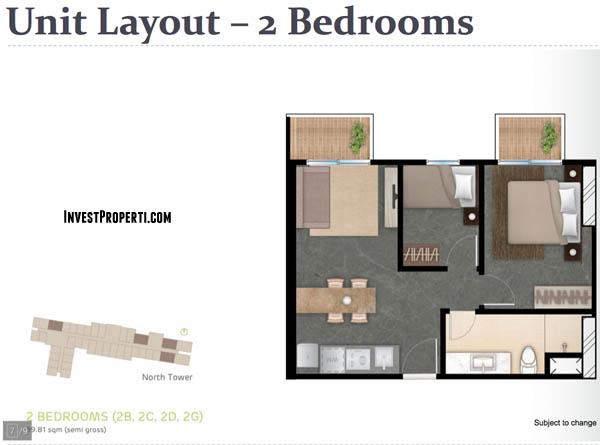 Tipe 2BR West Vista Apartemen