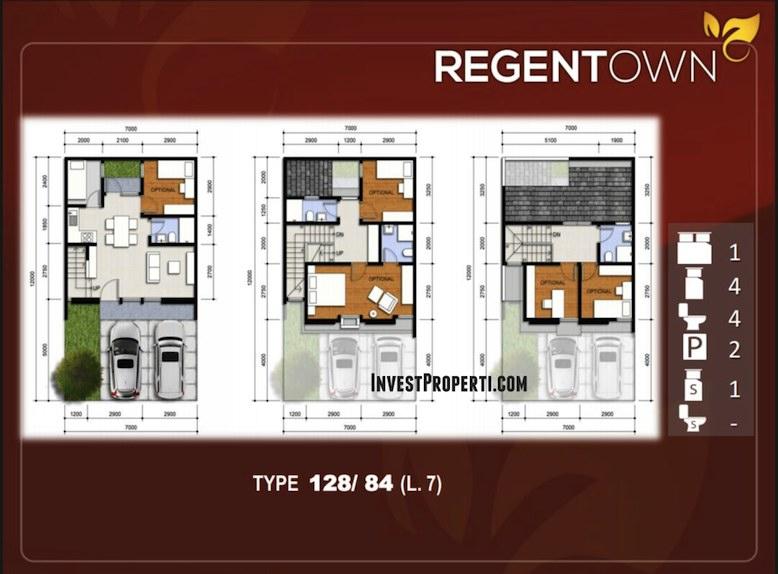 Denah Rumah RegenTown BSD Tipe 128