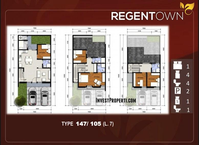 Denah Rumah RegenTown BSD Tipe 147