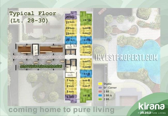 Floor Plan Apartemen Akasa Pure Living Lt 28-30