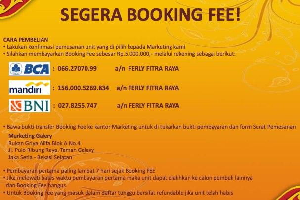 booking fee galaxy residence bekasi