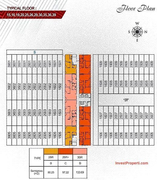 Floorplan lt15-39 Apartemen Paddington Heights Alam Sutera