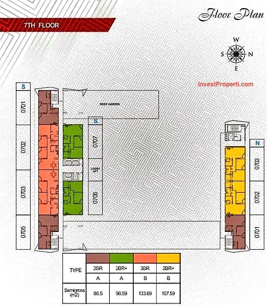 Floorplan lt7 Apartemen Paddington Heights Alam Sutera