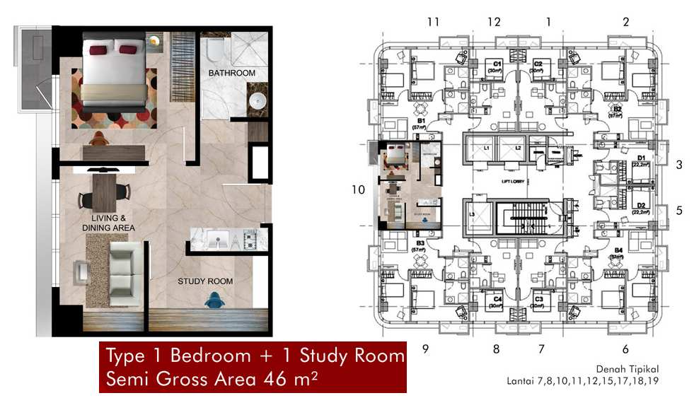 Tipe 1BR 1ST Apartemen Grand Pancoran