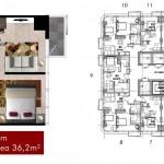 Tipe 1BR Apartemen Grand Pancoran