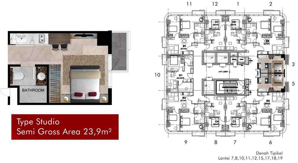 Tipe Studio Apartemen Grand Pancoran