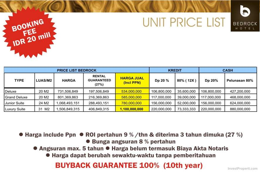 Bedrock Hotel Bali Price List