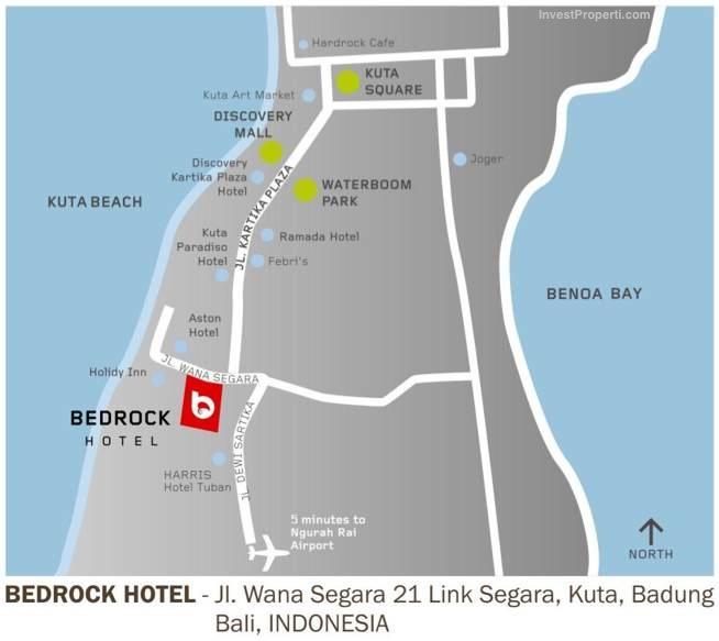 Map Location Bedrock Hotel Kuta Bali